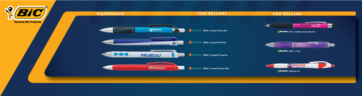 custom imprinted bic clic pens